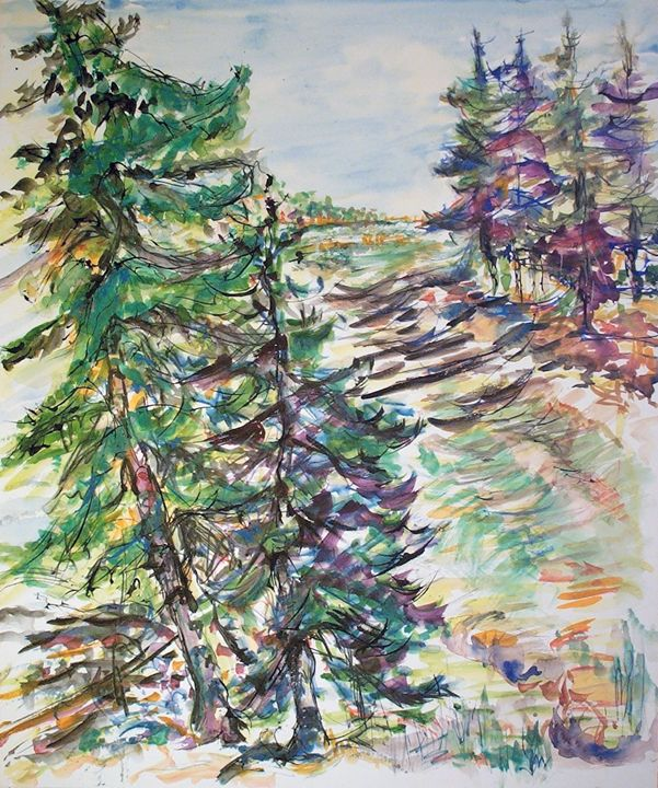 Pine Trees and Path - Evelyn Bell Vodicka
