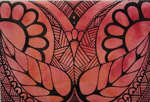 Red/orange zentangle flower design