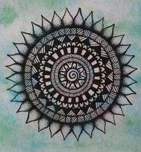 Zentangle mandala- watercolour & ink