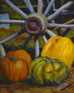 Wheel and Harvest Still Life