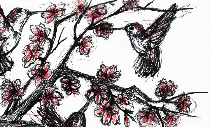 Hummingbirds and Blossoms - Art by Pedro I. Vargas
