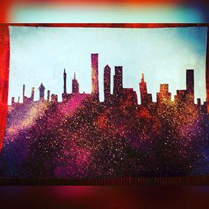 Original acrylic skyline painting