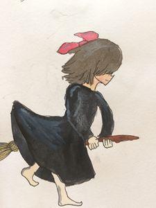 Kiki on her broom