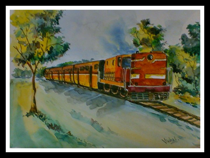 THE TRAIN IN WATER COLOR - Arty's Art Gallery by Vishal Singh