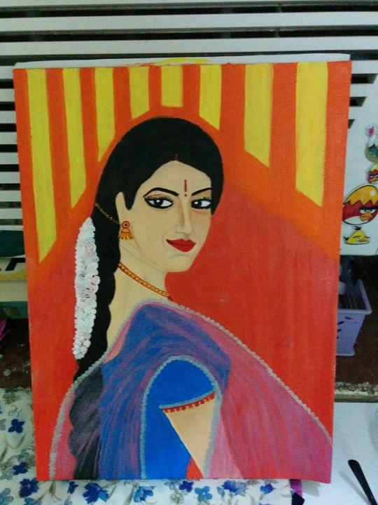 woman with dupatta - shwetaarts