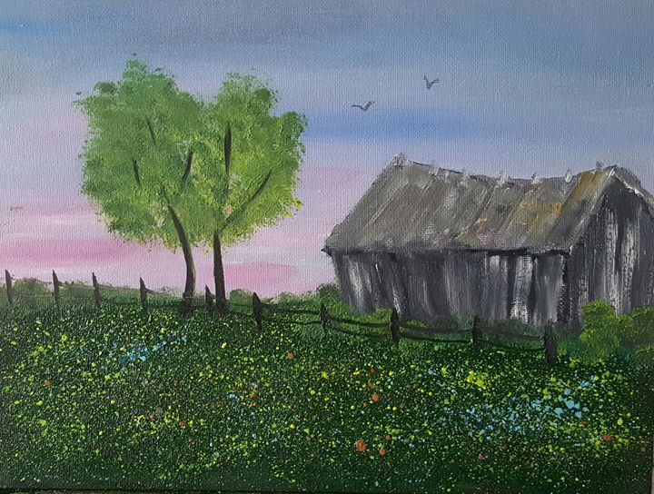 Old Barn in Wildflowers - AMYTINDALLART
