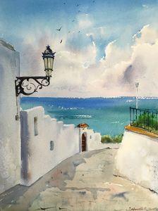 Street lamp on the island of Santori