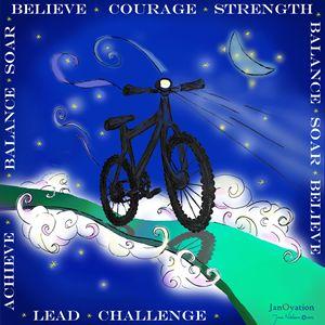 Bicycle soaring high
