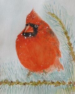 Cardinal in the Snowy Pines