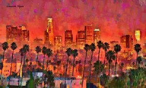 Los Angeles Skyline And Palm Trees 5