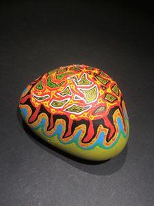 Painted stone, Xavier Gaillot
