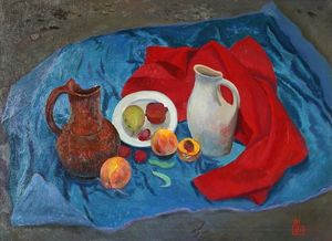 Still life with peaches and a jug