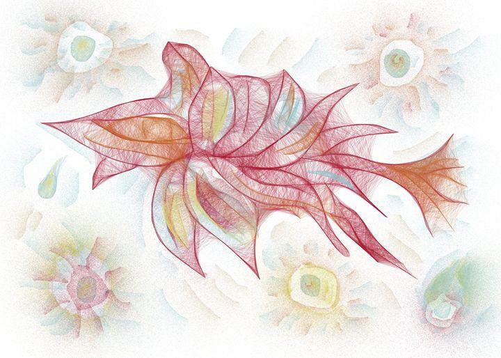 Watercolour floral fish - Tanya