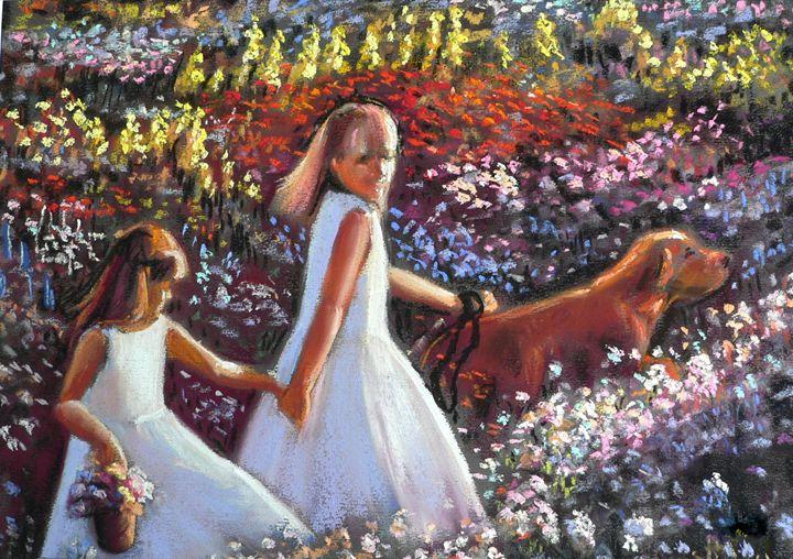 Girls walking dog in flower garden - imaginart
