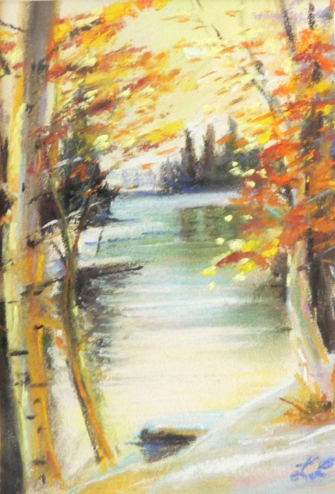 Snow on the lake with birch trees - imaginart