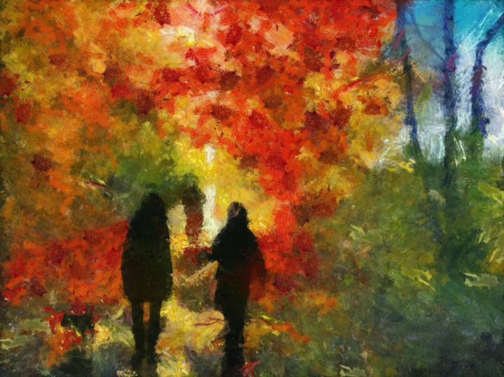 Walk in the colorful maple trees - imaginart