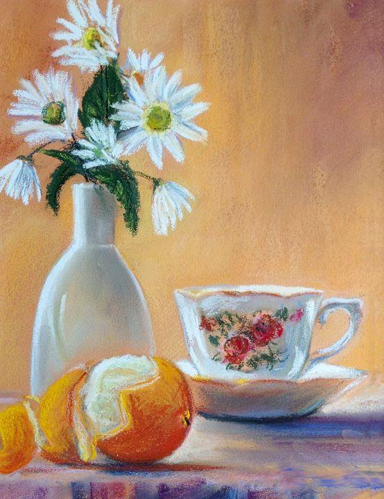 Orange and victorian teacup - imaginart