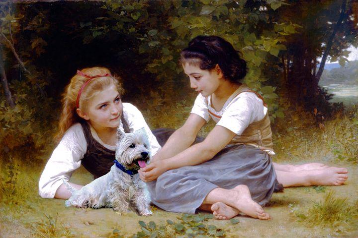 William Bouguereau girls and Westie - imaginart