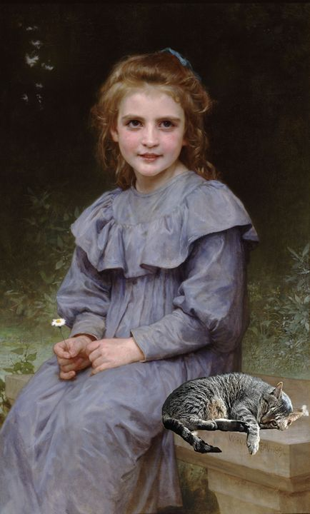 "Cat in ""Daisies"" by Bouguereau - imaginart"