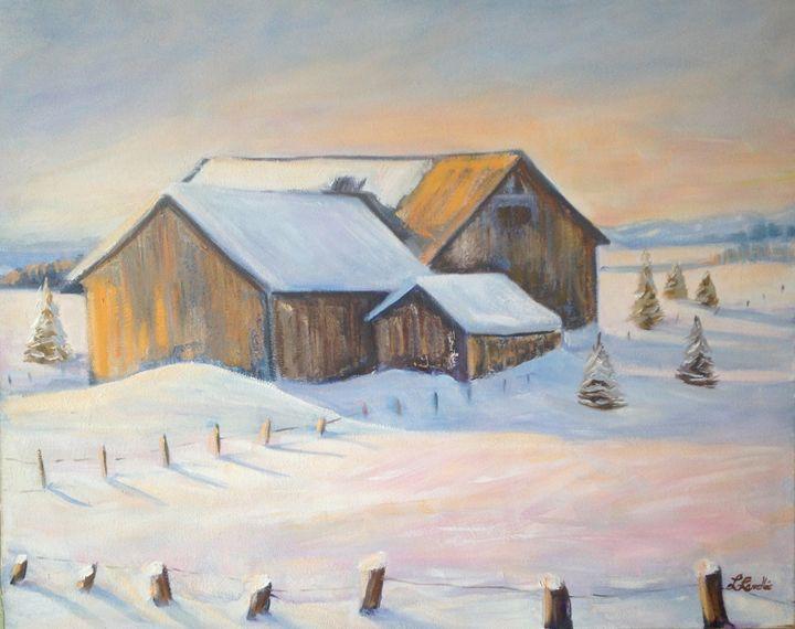 Winter landscape with barn - imaginart