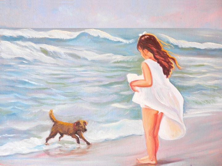Girl and dog at the beach - imaginart