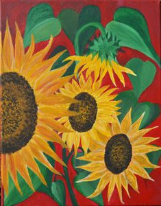 Sunflowers on Red