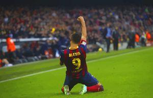 Alexis Sanchez celebrates a goal aga