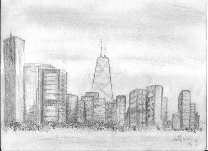 Chicago Skyline - Artist Monolo Velazquez