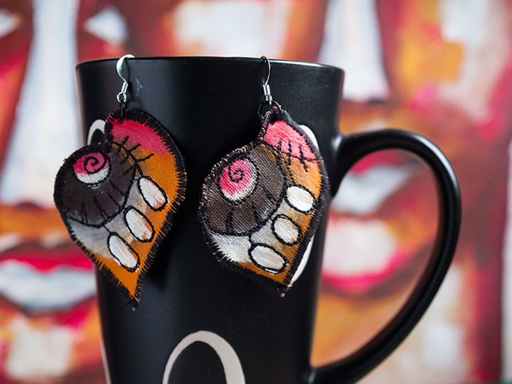 Hand painted and stitched earnings - Lidija Miklavcic