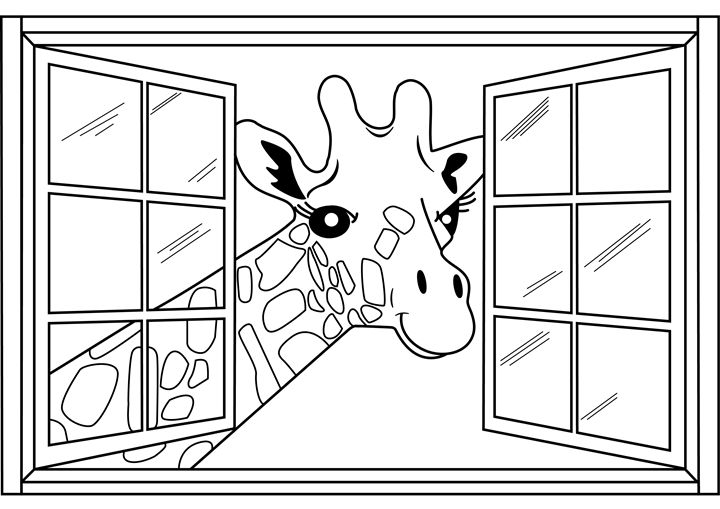 Giraffe Coloring Page - Clyde C