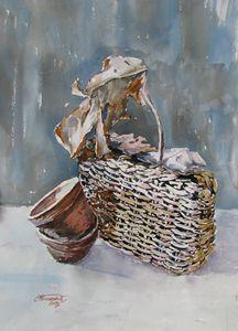 Basket and dried leaf