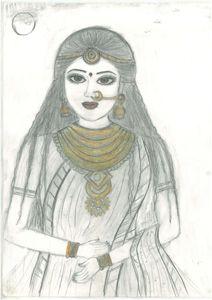 sketching of rajsthani bridal