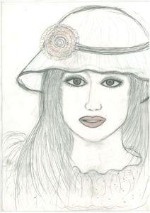 beautiful girl sketching