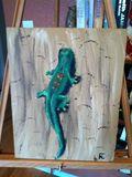 12x18 acrylic lizard on tempered boa