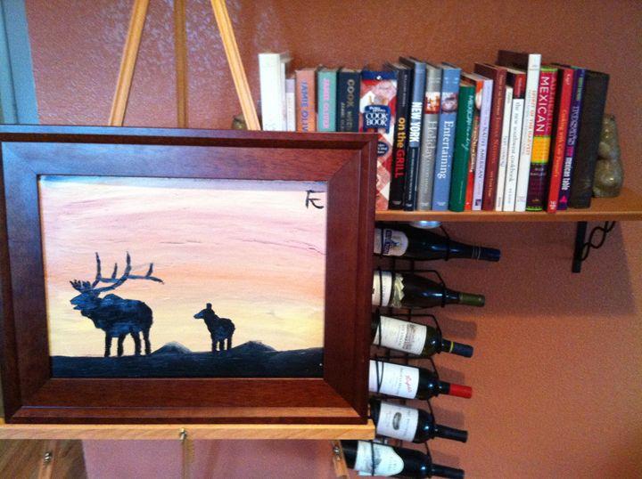 Elk at sunset - FK Art