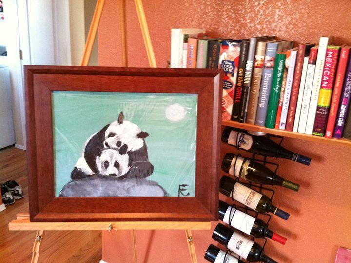 12x18 acrylic panda love - FK Art