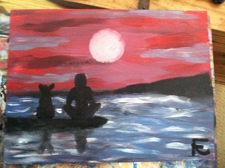 surfers at moonlight - FK Art