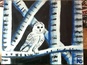 18x24 acrylic snow owl on canvas