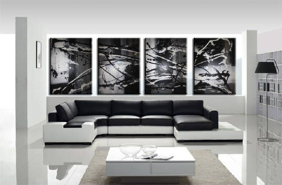 Splash white black,grey - Peter Abstract Modern Art