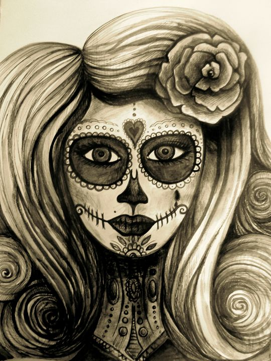 sugar skull girl day of the dead - busyspider