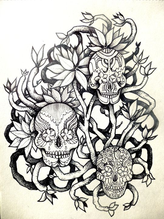 tattoo frangipani skulls - busyspider