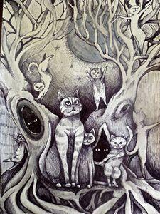 moon lit dancing cats sketch