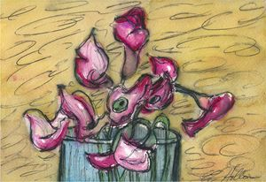 Calla Lilies in a Glass Vase 2