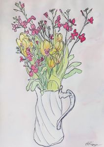 Bouquet in a White Pitcher