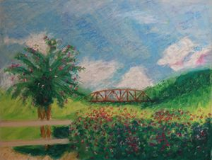Old Bridge, oil pastel