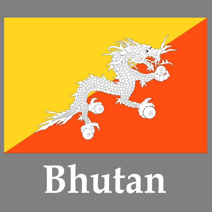 Bhutan Flag And Name - My Evil Twin