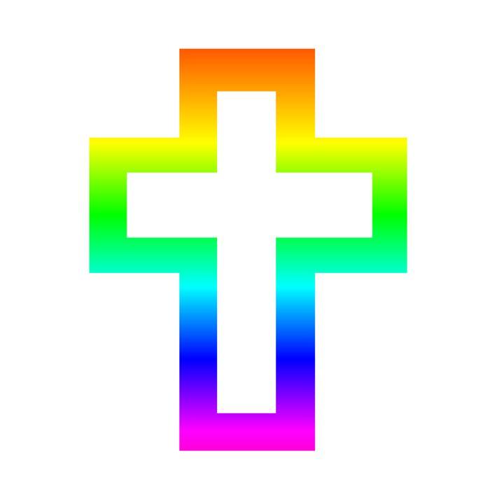 Rainbow Christian Cross - My Evil Twin