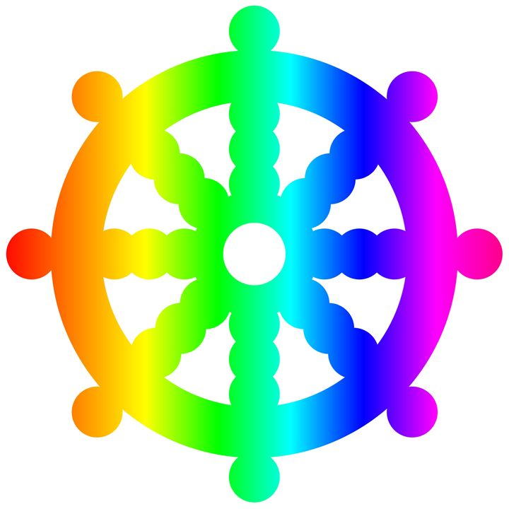 Rainbow Buddhist Wheel Of Dharma - My Evil Twin