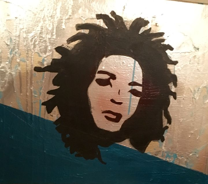 Ms Hill silver and blue 16x20 - Jlow Art