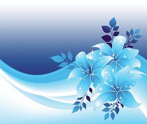 Blue Floral - 3D Elements